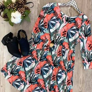 Printed 3/4 Length Sleeve Dress